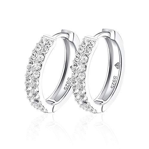 YOURDORA CZ Hoop Earrings Sterling Silver 925 Pave Hoop Earrings for Women Ear Huggers Loop 18mm Antiallergic