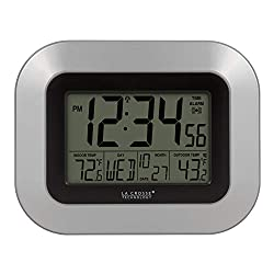 La Crosse Technology WS-8115U-S-INT Atomic Digital Wall Clock with Indoor and Outdoor Temperature Silver, 9.00 x 0.75 x 7.25 inches