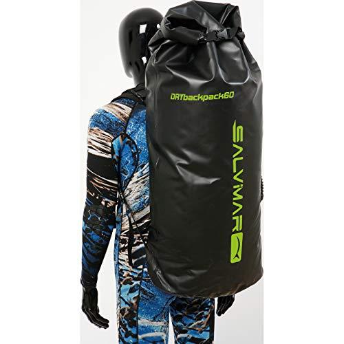 SALVIMAR Dry Back Pack 60/80, Borsa per Subacquea Unisex Adulto, Nero, 44 x 28 x 75 cm capacità 80/60 L