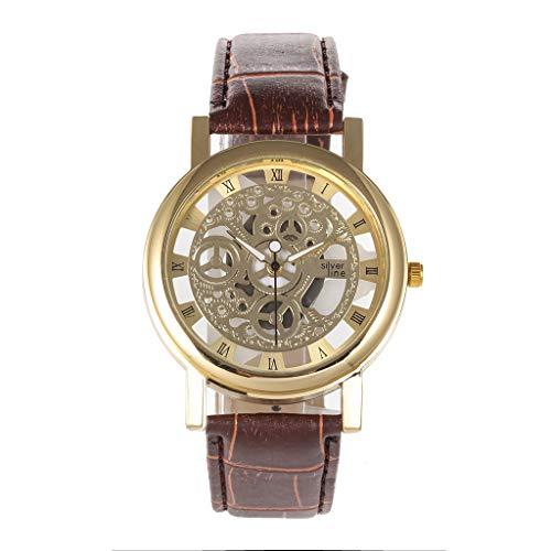 Unisex Einfach Analog Quarz Uhr, Damen Männer Retro Luxuriöse Armbanduhr mit Lederarmband Quarzuhren Classic Damenarmbanduhr Herren New Trend LEEDY