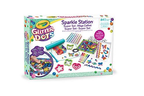 Crayola Glitter Dots - Sparkle Station Super Set, per Creare Scintillanti Decorazioni con il Glitter Modellabile, Attività Creativa e Idea Regalo, 04-1085