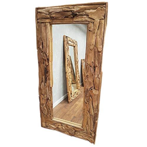 dasmöbelwerk XXL Wandspiegel Spiegel Massiv Wurzel Teak Holz Rahmen Hängespiegel 180 cm oder 200 cm (B100 x H200 x T9 cm)