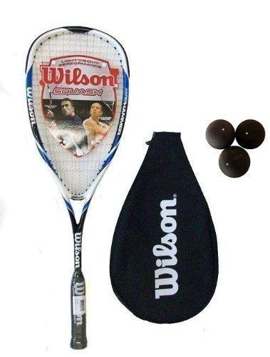 Wilson Hyper Hammer Carbon 120 Blau Squashschläger + 3 Squashbälle