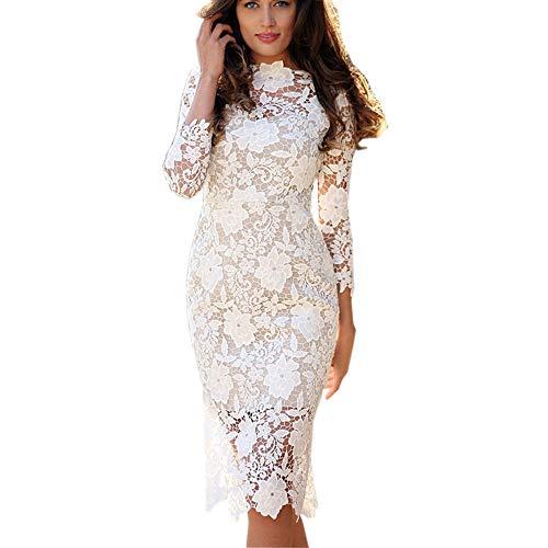 NPRADLA Damen Elegant Strick Kleid Rundhalsausschnitt Business Kleider Bodycon Langarm Wickelkleid Pulloverkleid Cocktailkleid Bleistiftkleid Geschäft Minikleid