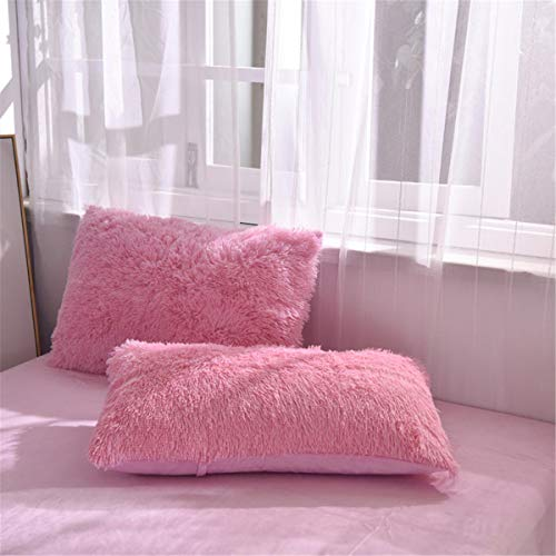 2PC Fluffy Shaggy Pillowcase Faux Fur Pillow Case,Cozy Shaggy Plush Pillow Shams,Furry Crystal Velvet Pillow Cover,Luxury Long Fleece Decorative Pillowcases with Zipper Closure (Pink, Queen/Standard)