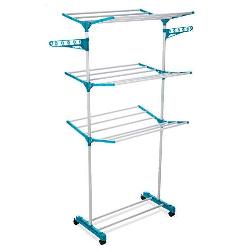 FiNeWaY 3 Tier Deluxe Clothes Airer Foldable Drying Rack With 2 Side Wings...