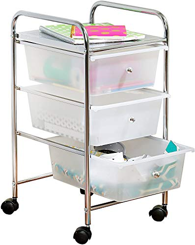 Honey-Can-Do 3-Drawer Plastic Storage Cart on Wheels (Silver.2 Pack)