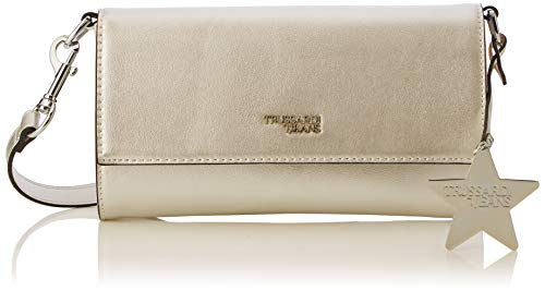 Trussardi Jeans Damen T-Easy Clutch Charm Star Logo (Metal Gold), 25x14x1 centimeters