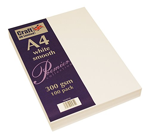 Craft UK A4 cardstock 300gsm 100 sheets - white smooth