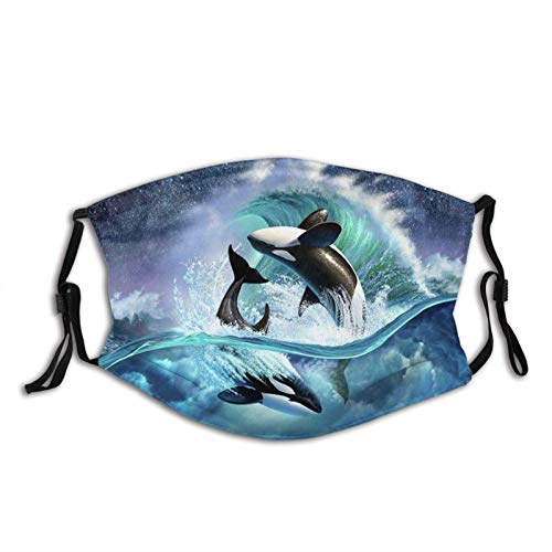vipsung Orca WaveMask Washable Reusable Face Bandanas Balaclava with Adjustable Elastic Strap