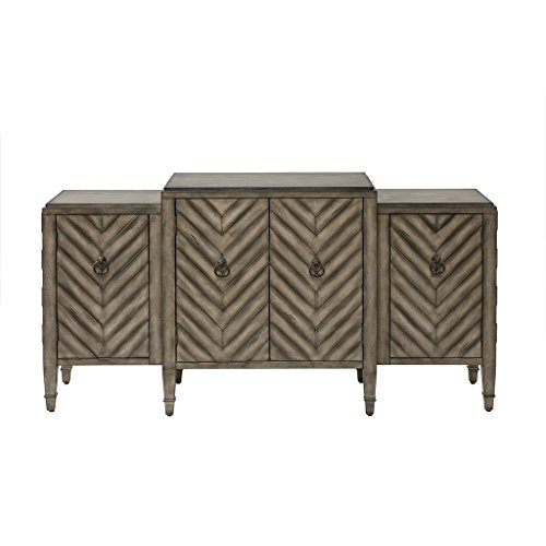 Madison Park Dresden Media Console Cabinet - Modern Mid-Century, Chevron Design with Metal Hardware Buffet/Sideboard Accent Living Room Furniture, Beige