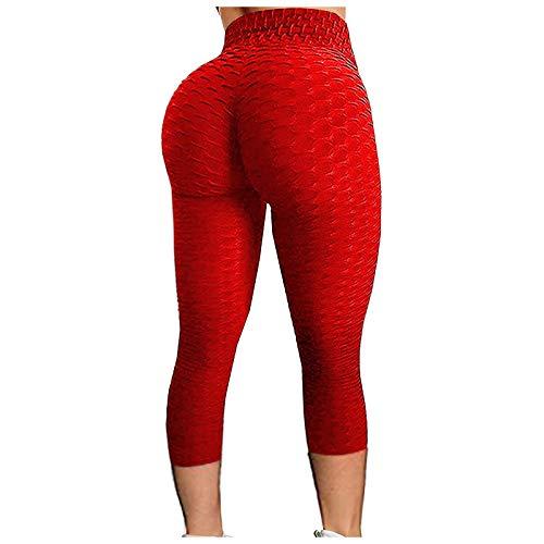 SHOBDW Leggings Push Up Mujer Mallas Pantalones Deportivos Alta Cintura Elásticos Yoga Fitness Pantalones cuadrícula Respirable Casuales De Cintura Alta Pantalón Medio(Rojo,L)