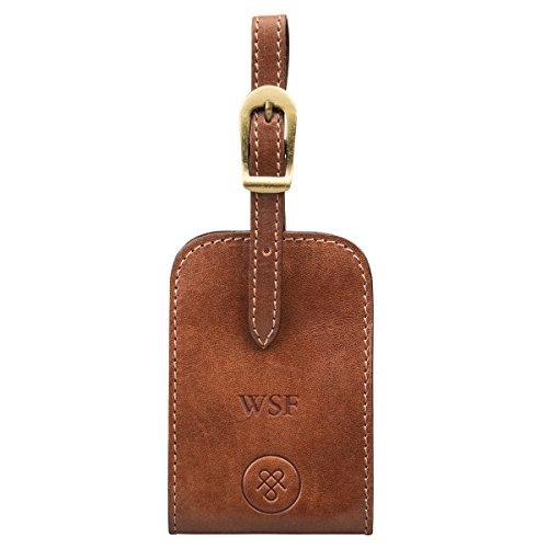 Maxwell Scott Personalized Full Grain Leather Luxury Luggage Tag - Ledro Tan