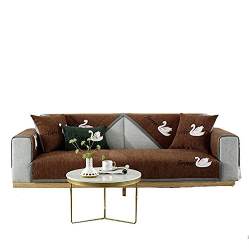 Funda de sofá seccional de Chenilla con patrón Bordado de Cisne Fundas de sofá universales Protector de Muebles de Sala Perros Mascotas,Café,70 * 210 cm