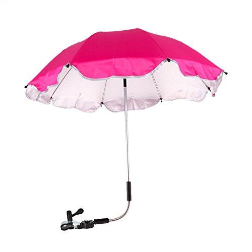 demiawaking Sombrilla Parasol para carrito Universal Anti UV Ajustable a 360grados Sun Canopy Paraguas para carrito niño Rosa scuro