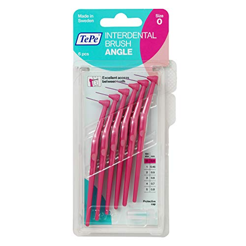 TePe Angle Interdentalbürsten 6 Stück Packung Rosa, 0.4mm