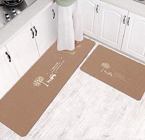 Teppiche Küche Matten Anti-Skid-Öl-Proof Haushalt Lange Fußmatten Badezimmer-saugfähige Matten-Tür-Eingang Fußmatte,Braun,50X80+50X120cm