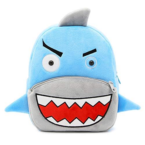 Haioo Mochila Infantil para Niños con Figuras de Animales Bonitos Mochilas Escolares para Niños 2-4 Años (Tiburón)