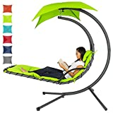 Best Choice Products Outdoor Hanging Curved Steel Chaise Lounge Chair...