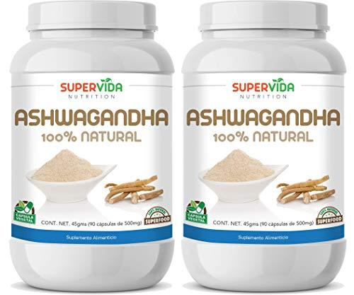Ashwagandha 180 Cápsulas (2 Frascos de 90 Cápsulas Vegetales de 500 mg ASHWAGANDHA) | SuperVida Nutrition - Suplementos 100% Naturales