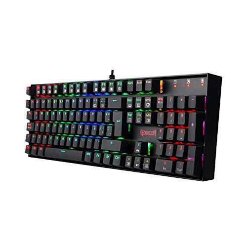 Redragon K551 Mitra, Teclado Gaming Mecánico RGB, Construcción ABS y Acero, Interruptores...