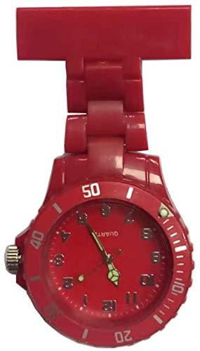 LLGG Reloj De Bolsillo Enfermera MéDico,Reloj de Enfermera de plástico PVC, Reloj de Doctor-Rojo,Relojes Unisex MéDico