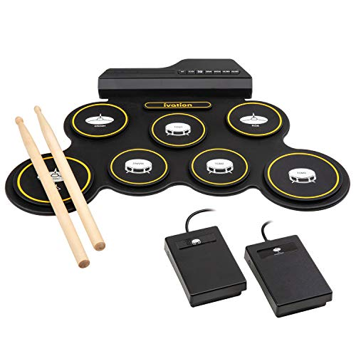 Ivation Portable Electronic Drum Pad - Digital Roll-Up Touch Sensitive Drum Practice Kit - 7 Labeled Pads 2 Foot Pedals Kids Children Beginners (No Speakers/AAA Battery Operated)