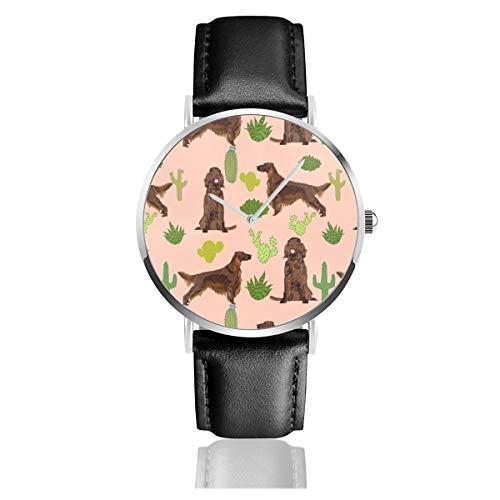 Irlandés Setter Cactus Desierto Suroeste Pet Perro Tela Peach Clásico Casual Moda Reloj de Cuarzo Acero Inoxidable Correa de Cuero Relojes