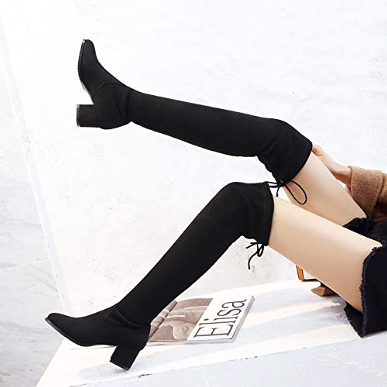 Shukun Stiefeletten Over The Knie Stiefel Weibliche Herbst Und Winter Dick Mit High Heel Dünne Stiefel Lange Stiefel Stiefel Einzelne Stiefel