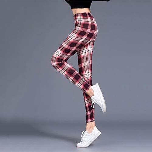 AOZLOVEC Leggings de mujer con estampado de ejercicio, mallas de fitness, elasticidad a cuadros, Legging Push Up, pantalones femeninos de talla grande, talla única, vino, rojo, blanco