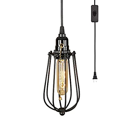 EFINEHOME 1 Light Hanging Swag Lamp with Plug in 15 Ft Cord On/Off Switch with Pull Chain- Black Industrial Vintage Cage Pendant Light (Lampshade Pomelo)