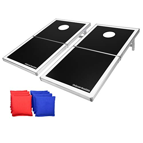 GoSports CornHole PRO Regulation Size Bean Bag Toss Game Set (Black)