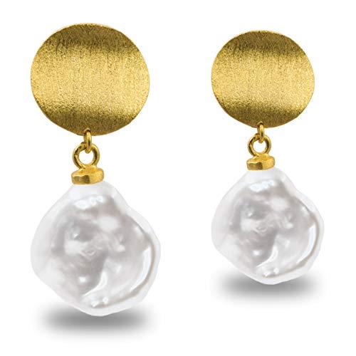 Pendientes de Mujer de Perlas Cultivadas de Agua Dulce Barrocas Keshi Blancas Grandes de 12-13 mm SECRET & YOU - Diseño en Plata de Ley de 925 milésimas Bañada en Oro de 18 k