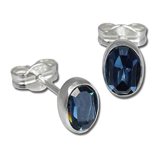 SilberDream Damen-Ohrringe 925 Sterling Silber Oval Zirkonia dunkelblau SDO552B