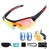 Cikyner Fahrradbrille Radsportbrillen, Polarisierte Sportsonnenbrille mit 2 Wechselobjektiven UV400...