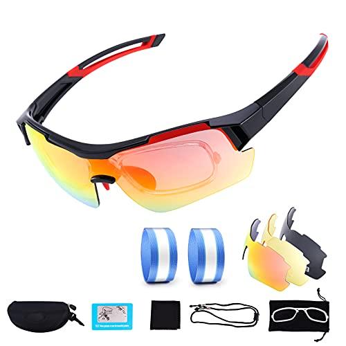 Cikyner Gafas de ciclismo, gafas de sol deportivas polarizadas con 2 lentes intercambiables Gafas de protección UV 400 para hombres y mujeres en ciclismo, conducción, carrera, pesca, golf