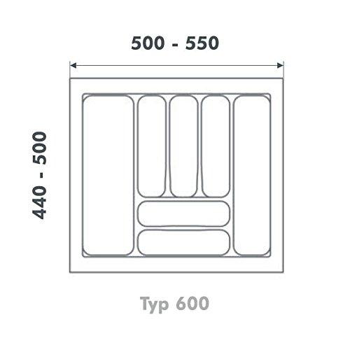 Besteckeinsatz UNIVERSAL60 mit 8-Facheinteilung (B 500-540 x T 440-490 mm) / Besteckkasten / Besteckeinsätze