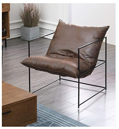 ZYLE Simple Lazy Sofa Comfortable Single Sofa Brown Bedroom Living Room Office Modern Simple Wrought Iron Chair Tatami 68×68cm