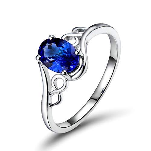 Daesar Anillos de Oro Blanco 18K Para Mujer,Oval con Infinito Hueco Tanzanita Azul 0.75ct,Plata Azul Talla 17