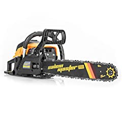 High Performance -- SALEM MASTER 62cc 3.4hp powerful gas chainsaw delivers steady power to the 20-inch bar and low-kickback chain. The engine speed can be up to 8500 rpm. Ideal tool for cutting firewood and felling trees with a much higher efficiency...