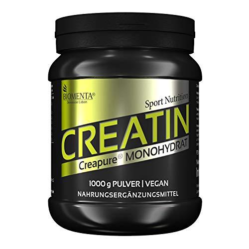 BIOMENTA Kreatin Monohydrat (Creapure) - 1000g Creatine Pulver mit Messlöffel zur Dosierung