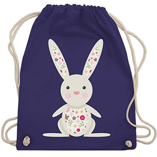Ostern Kinder - Süßer Hase - Frühlingstiere mit Blumen - Unisize - Lila - stoffbeutel mit namen - WM110 - Turnbeutel und Stoffbeutel aus Baumwolle