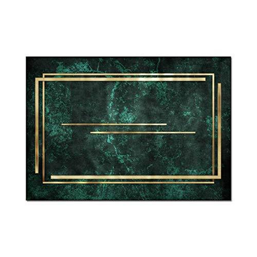 HAUSHAIT Alfombra de patrón Verde nórdico de Oro para el Dormitorio Personalizado Grande de la Sala de Estar de la Sala de Estar de la Sala de Estar alfombras de Piso Antideslizante