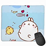 ManSanTuBaZhu Kawaii Bunny Fish Non-Skid Personality Designs Gaming Mouse Pad Black Cloth Rectangle Mousepad Art Natural Rubber Mouse Mat with Stitched Edges 9.811.8 Inch