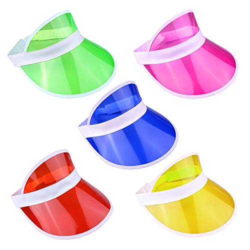 Pack of 5 Neon Sun Vizors for 80s Dress-Up
