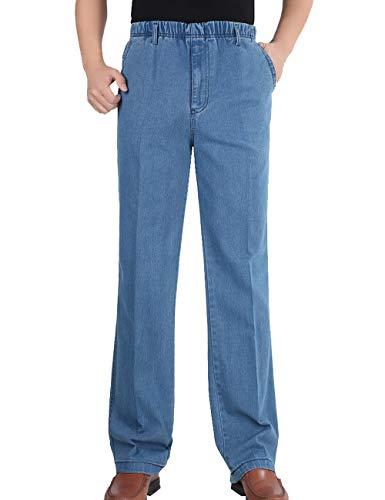 Zoulee New 2019 Men's Full Elastic Waist Denim Pull On Jeans Straight Trousers Pants Light Blue M Fit W34-36