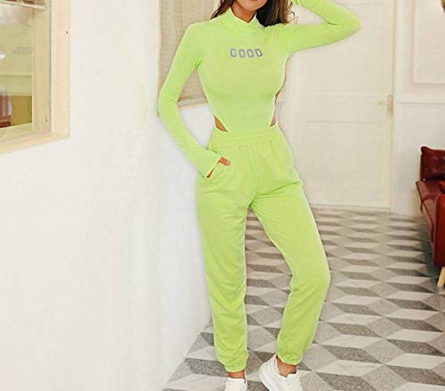 JUSTTIME Dames Slim Fit Fluorescerend Alfabet Reflecterend T-shirt met lange mouwen Pullover Coltrui Bodysuit S Groen
