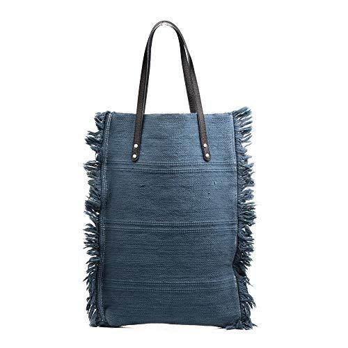 FIRENZE ARTEGIANI. Teresa Borsa Shopper Donna Tessuto Cotone Bouclé .Made in Italy.37x7x51 cm Colore: pelle chiara.