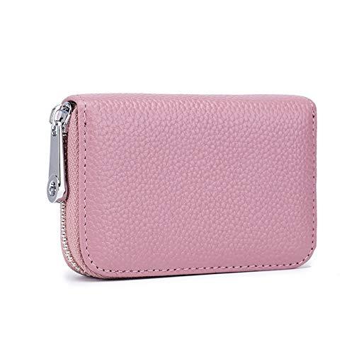 Las mujeres carteras y clutchesCard Bag Órgano Cremallera Hombres Cuero RFID Anti-robo Cepillado Magnético de Cuero Hembra Titular de la Tarjeta Titular, Pink (Rosa) - 6972299150589