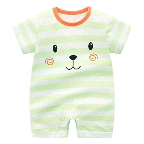 Treer Strampler Baby Mädchen und Jungs, Spielanzug 100% Baumwolle Sommer Babybody Baby Kurzarm-Body für Neugeborene Weich Short-Sleeve Bodysuits (73cm,Grün süß)